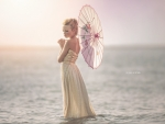 Litlle girl with japanese umbrella