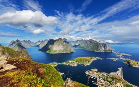 Lofoten, Norway - cloud, beautiful, sky, lake, lofoten, mountain, snow, nature, river, Norway, landscape