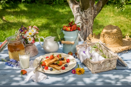 Summer Picnic ♥ - lovely, strawberry, fruits, toast, beautiful, picnic, photography, bouquet, summer, flowers