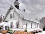 quaint town church in winter hdr