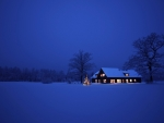 house on a wintry night