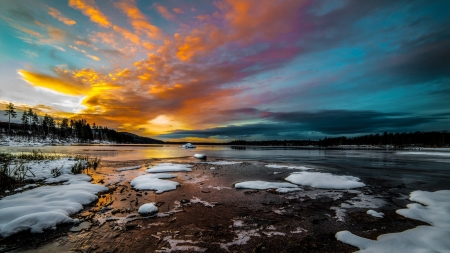 wonderful sunrise on a winter lake - shore, sunrise, clouds, lake, winter