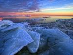 ice sheet on a seashore hdr