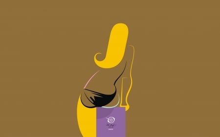 Qbella - bfvrp, zelko, brown, yellow, modern, paintings, drawings, artworks, art, minimal, design, radic, girl, images, digital, pictures, vector, style