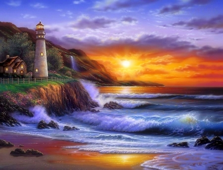 Sunset Lighthouse - love four seasons, attractions in dreams, creative pre-made, sky, clouds, sea, paradise, beaches, sunsets, lighthouses, summer, seaside, nature