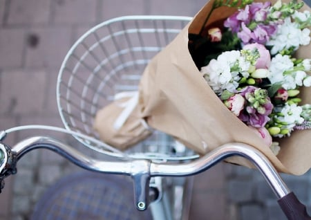 ♥ - photography, bouquet, basket, bicycle, flowers, gift