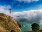 spectacular fog covered golden gate bridge hdr