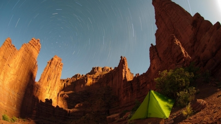 camping under the stars - stars, desert, canyon, tent, fisheye