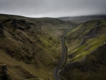 blacktop road through winnats pass in england