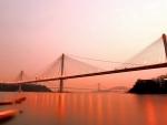 mighty bridges in beautiful magenta sunset
