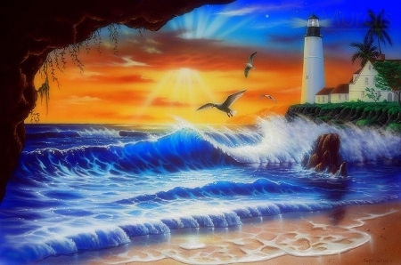 Enchanted Beach - love four seasons, attractions in dreams, creative pre-made, sea, rays light, beaches, lighthouses, summer, seaside, nature