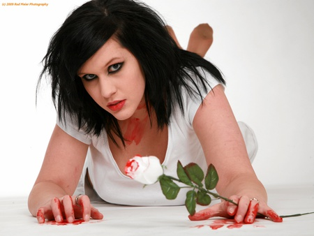 Gothic Bloody Rose - bloody, female, rose, rod meier, woman, blood, cool, gothic, flowers, white