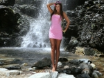 Maria Ryabushkina Posing at a Waterfall
