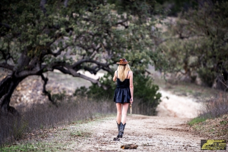 Lonesome Trail - female, models, hats, boots, ranch, fun, women, guns, NRA, pistols, cowgirls, girls, fashion, western, style