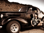 girl with hod rod coupe
