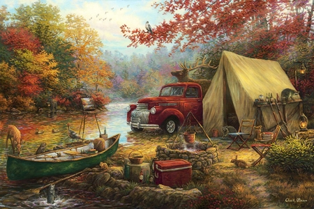 Share the Outdoors - autumn, tent, trees, artwork, deer, fireplace, boat, car, painting, river, vintage