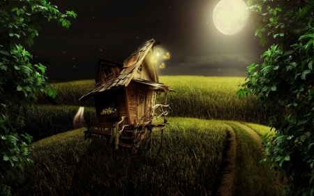 *Little wood house in the moonlight* - forest, house, little, fantasy land, hq, faryland, fantasy, moonlight, wood