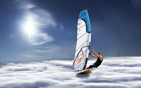 Wind Surfing on the Clouds - fantasy, clouds, surfing, abstract