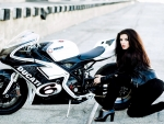 brunette with ducati
