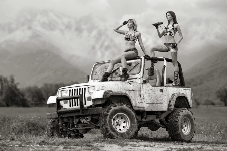 Sight Seeing Cowgirls - female, models, boots, jeeps, fun, women, cowgirls, girls, fashion, western, style