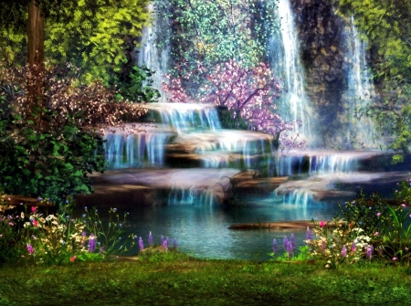 Fairy Waterfall - cascades, painting, flowers, river, trees, artwork