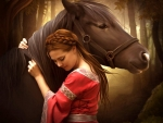 Horse and a  beautiful woman