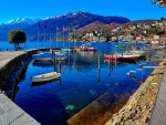 boat harbor in ascona on lake maggiore hdr