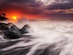 magical bali beach at sunset