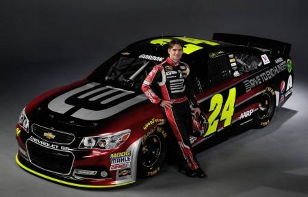 #24 Jeff and his Car - photo, champion, NASCAR, racing, Jeff Gordon, 24, photography, auto, wide screen, Gordon