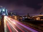 brooklyn bridge at night in long exposure