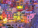 fantastic town of cinque terre italy at dusk