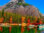 fall colors on lake banff in canada