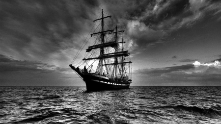 tall ship at sea in grayscale - ship, grayscale, sky, sea, sail
