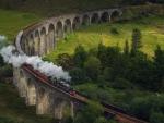 steam train on an old rail bridge hdr