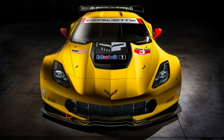 Chevrolet Corvette C7R - cars, corvette, vehicles, front view, chevrolet, yellow cars, Chevrolet Corvette C7R
