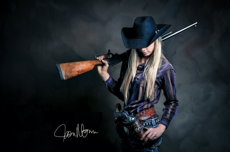 I'm The Best... - female, models, hats, fun, kim grimes, women, guns, NRA, cowgirls, girls, Rifles, blondes, western, style