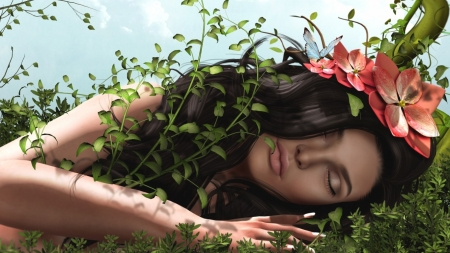 ★sleeping Beauty★ - hair, flowers, grass, girl
