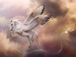 magic unicorn in stormy clouds