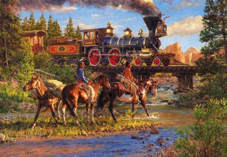 Iron Horse - bridge, painting, natives, ponies, river, artwor