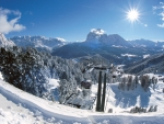 gorgeous clear day over ski resort in selva italy
