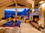 cozy livingroom overlooking ski resort