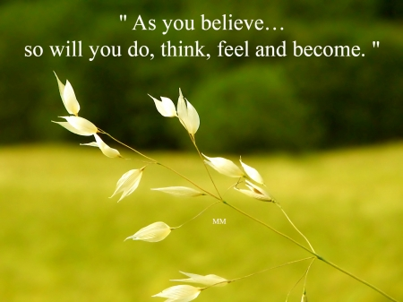 As you believe - Words, Grass, Leaves, Thoughts, Nature, Quotes