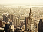panorama of new york city in sepia