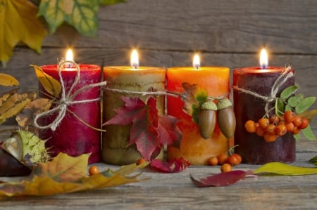 Wallpaper autumn, leaves, fire, candle images for desktop ... |Fall Candles Background