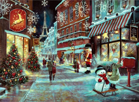 Christmas In Paris F5Cmp - Christmas, art, holiday, December, France, beautiful, illustration, artwork, winter, snow, Paris, painting, wide screen, occasion, scenery