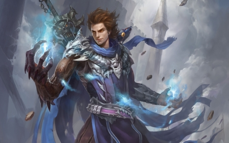 Sorcerer - art, fantasy, sorcerer, game, magical, man, blue