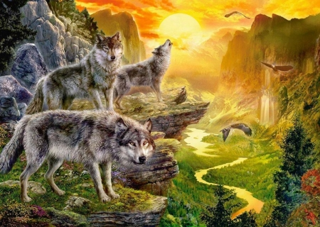 NATIVE SPIRITS - Sky, Native, Painted, Eagels, Spirits, Sun, nature, Painting, Wolves, animals
