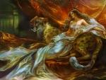 Woman and Cheetah