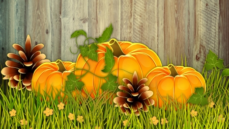 Pumpkins by the Fence - fence, rutic, fall, autumn, harvest, gourds, flowers, pinecones, Firefox Persona theme, wood, pumpkins