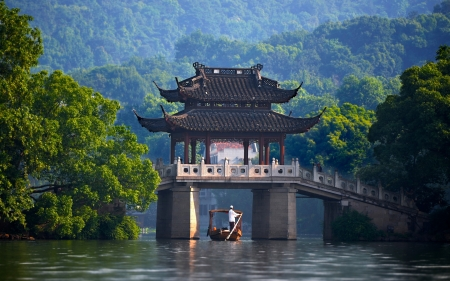 China - water, boat, green, china, pavilion, river, man, peisaj